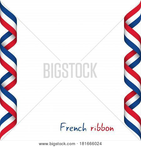 Colored ribbon with the French tricolor symbol of the French flag isolated on white background sign Made in France
