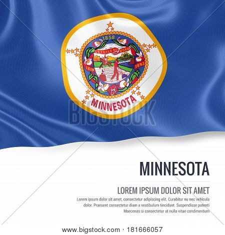 Flag of U.S. state Minnesota waving on an isolated white background. State name and the text area for your message.