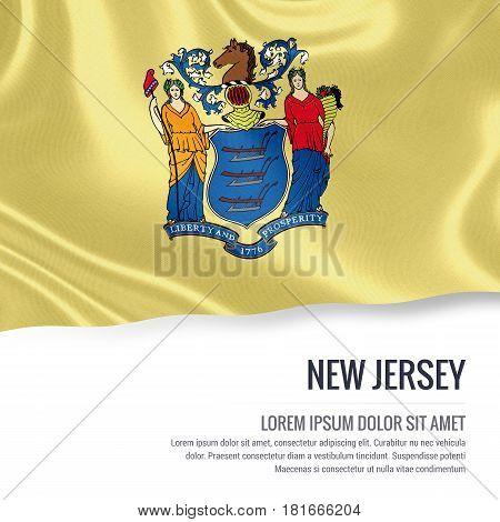 Flag of U.S. state New Jersey waving on an isolated white background. State name and the text area for your message.