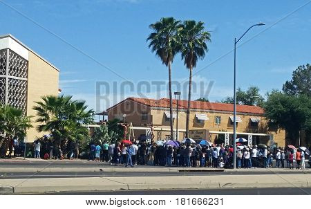 Tucson, USA, 14th Apr. 2017. Reenactment of the crucifixion of Jesus by the Romans on Good Friday, in front of the St. Joseph's catholic church.