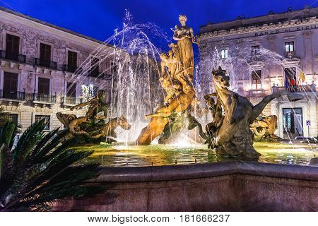 Fountain of Artemis on Ortygia isle Syracuse city Sicily Island in Italy