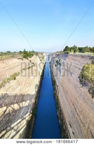Isthmus of Corinth - Corinth canal connects the Gulf of Corinth with the Saronic Gulf