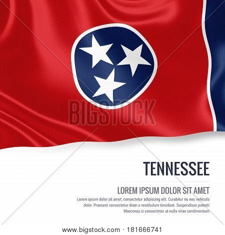 Flag of U.S. state Tennessee waving on an isolated white background. State name and the text area for your message.