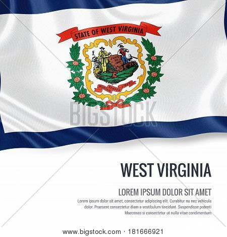 Flag of U.S. state West Virginia waving on an isolated white background. State name and the text area for your message.