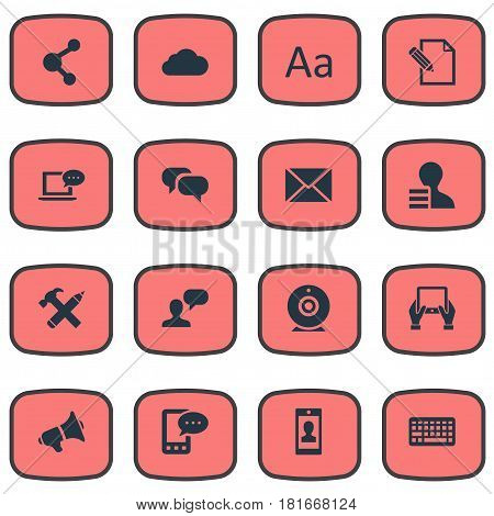 Vector Illustration Set Of Simple Blogging Icons. Elements Post, Overcast, Share And Other Synonyms Debate, Speaker And Coming.