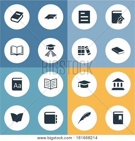 Vector Illustration Set Of Simple Knowledge Icons. Elements Library, Reading, Book Cover And Other Synonyms Building, Library And Academy.