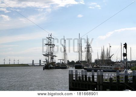 Enkhuizen, Historical Marina Filled With Sailing Ships