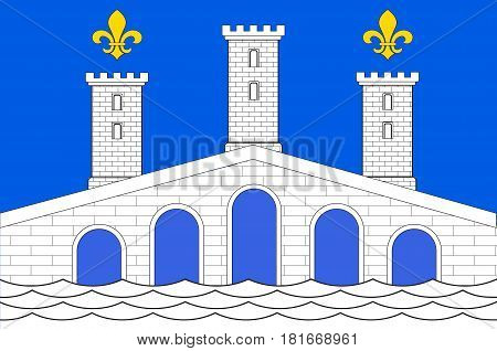 Flag of Villeneuve-sur-Lot is a town and commune in the southwestern French department of Lot-et-Garonne. Vector illustration