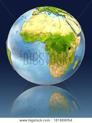 Equatorial Guinea On Globe With Reflection