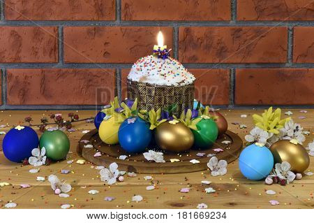 Easter cake with Easter eggs Rostov-on-Don Russia April 14 2017