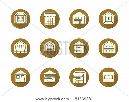 Abstract white silhouette symbols of trade stalls and tents, long shadow design. Promotional tent and stand, exhibition pavilion, fair marquee and others. Set of flat color round vector icons.