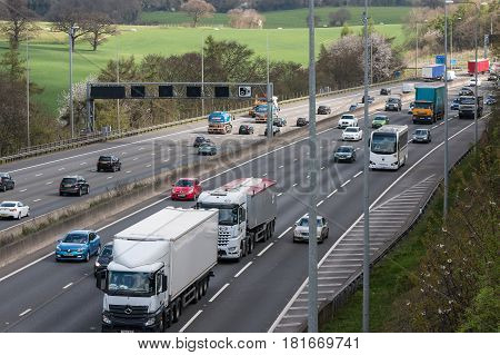 London UK - March 05 2017: Traffic on the busiest British motorway M25