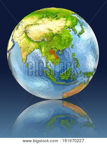 Laos On Globe With Reflection