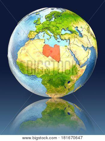Libya On Globe With Reflection