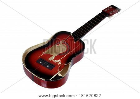 Broken Guitar on an Isolated White Background