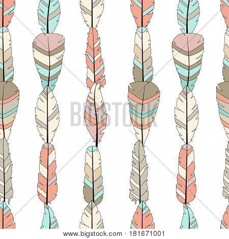 Seamless vector pattern with colored feathers on white. Hand drawn illustration. Bohemian style feathers for printswrapping fabric and other seamless design. Seamless texture of graphic feather.