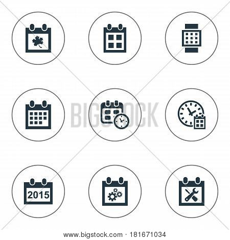 Vector Illustration Set Of Simple Time Icons. Elements Almanac, Deadline, Date And Other Synonyms Hour, Agenda And Leaf.