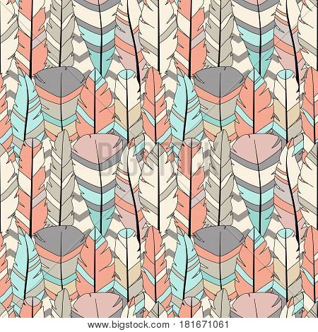 Seamless vector pattern with colored feathers on zigzag background. Hand drawn illustration. Bohemian style feathers for printswrapping fabric and other seamless design. Seamless texture of graphic feather.