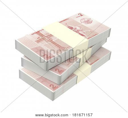 Nagorno karabakh dram bills isolated on white background. 3D illustration.