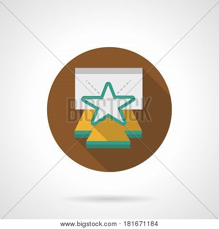 Abstract concert stage with white star. Symbol of premiere, popular person performance. Round flat design brown vector icon, long shadow.