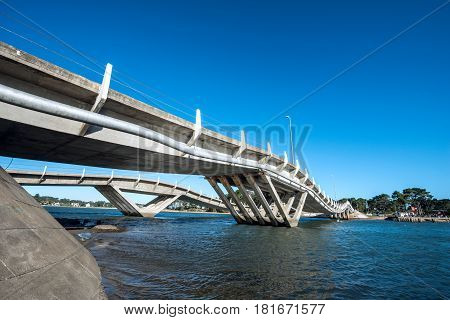 Punta del Este Uruguay - April 1 2017: Wavy-gravy bridge was created by the engineer Leonel Viera to expand the area of Punta del Este located in La Barra Maldonado province