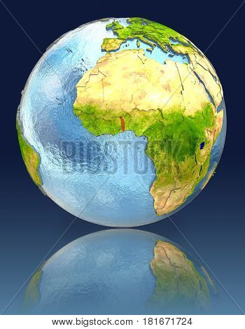Togo On Globe With Reflection