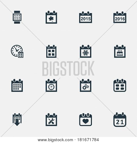 Vector Illustration Set Of Simple Plan Icons. Elements 2016 Calendar, Annual, Almanac And Other Synonyms Calendar, Special And Event.