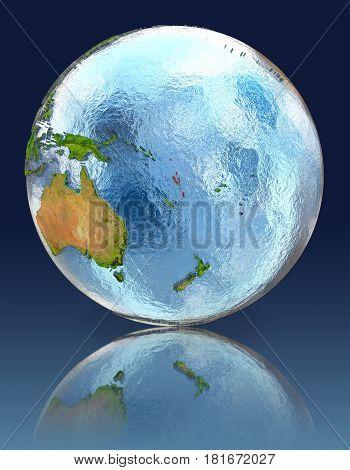Vanuatu On Globe With Reflection