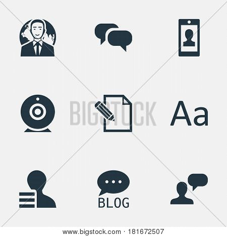 Vector Illustration Set Of Simple User Icons. Elements Profile, Man Considering, International Businessman And Other Synonyms Considering, Pen And Site.