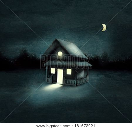 Beautiful image representing an isolated house in a forest at night