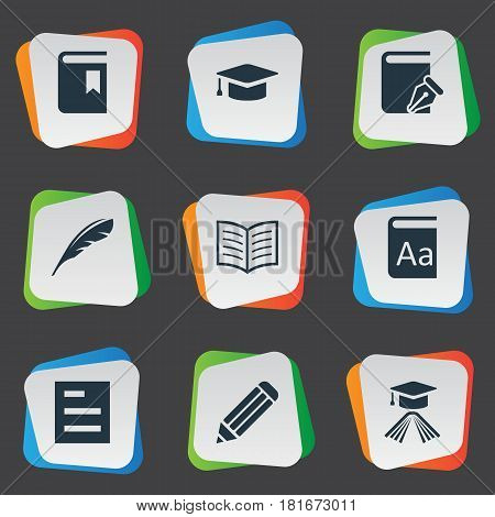 Vector Illustration Set Of Simple Knowledge Icons. Elements Tasklist, Plume, Sketchbook And Other Synonyms Pencil, Alphabet And Pen.