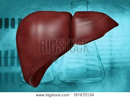 Human liver on laboratory background and science, 3D rendering