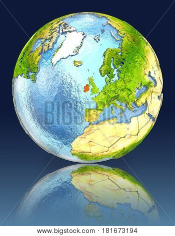 Ireland On Globe With Reflection