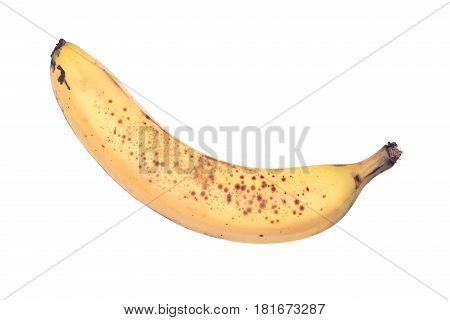 Ripe organic banana isolated on white background