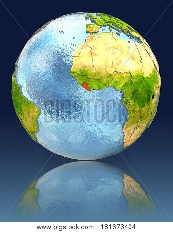 Liberia On Globe With Reflection
