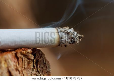 Cigarette With Smoke On Wooden Background