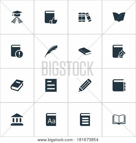 Vector Illustration Set Of Simple Books Icons. Elements Journal, Pen, Library And Other Synonyms Recommended, Favored And Library.