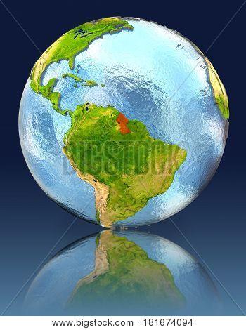 Guyana On Globe With Reflection