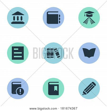 Vector Illustration Set Of Simple Knowledge Icons. Elements Tasklist, Library, Book Cover And Other Synonyms Academic, Library And Pen.