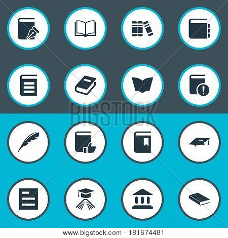 Vector Illustration Set Of Simple Books Icons. Elements Graduation Hat, Book Cover, Notebook And Other Synonyms Notepad, Plume And Book.