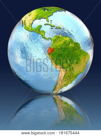 Ecuador On Globe With Reflection