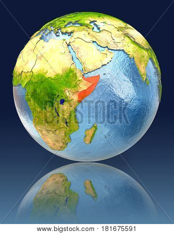 Somalia On Globe With Reflection