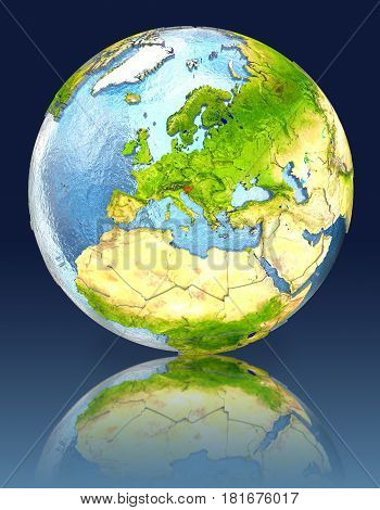 Slovenia On Globe With Reflection