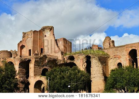 ROME, ITALY - MARCH 5: Tourists visit Palatine Hill Imperial Palace ruins MARCH 5, 2017 in Rome, Italy