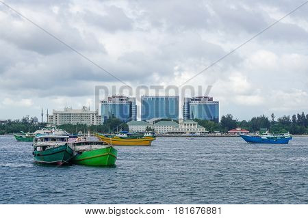 Labuan,Malaysia-Mac 25,2017:View of kumpit vessels from the Philippines in Labuan free port,Malaysia.This  type of vessel used for transporting seaweeds & for a cargo of trade from the Philippines