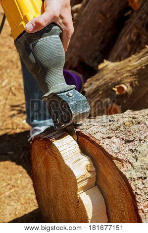 Sawing By Electric Jig Saw, Electric Jig Saw To Cut Tree