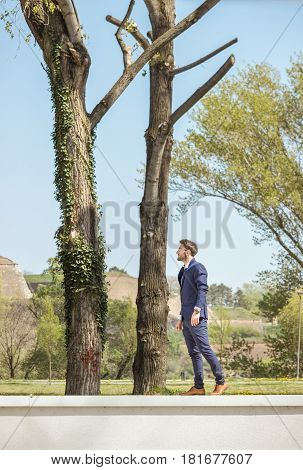 One Young Man, Formal Clothes Suit Tie, Posing, Standing On Wall, Nature