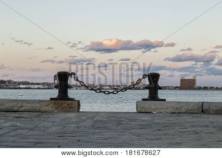A peacefully sunset in the Boston Harbor