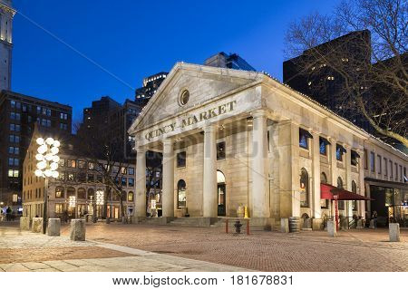The Quincy Market at Night, Boston, Massachusetts