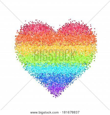 Glitter rainbow heart. Cute symbol of Valentines Day. Romantic concept. Love sign. Colorful vector illustration for cards, posters, banners, wedding design invitations. Isolated on white background.